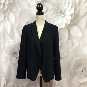 Topshop Black Open Front Long Sleeve Blazer 6